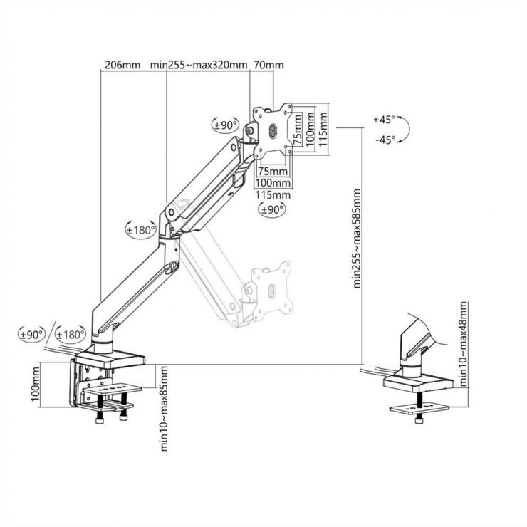 Imagine Suport pneumatic masa pentru monitor max 15kg, Roline 17.03.1116