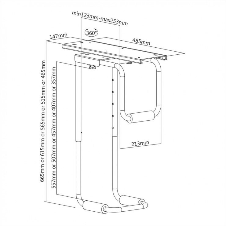 Imagine Suport pentru PC max 30kg montare sub masa extensibil/rotativ, Value 17.99.1502