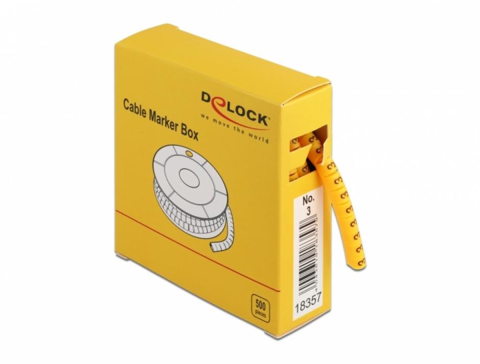 Imagine Set 500 bucati marcatoare cablu cifra 3 Galben, Delock 18357