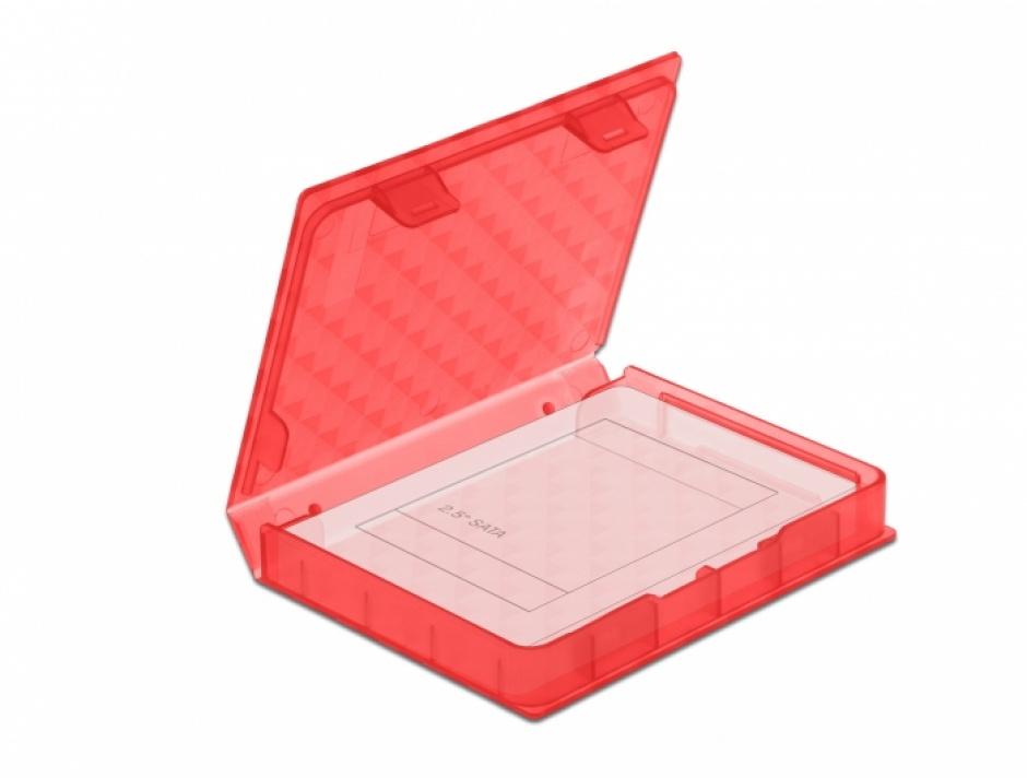"""Imagine Carcasa de protectie pentru HDD / SSD 2.5"""" Rosu, Delock 18370"""