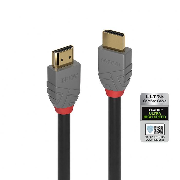 Imagine Cablu certificat Ultra High Speed HDMI 10K@120Hz Anthra Line T-T 0.5m, Lindy L36951