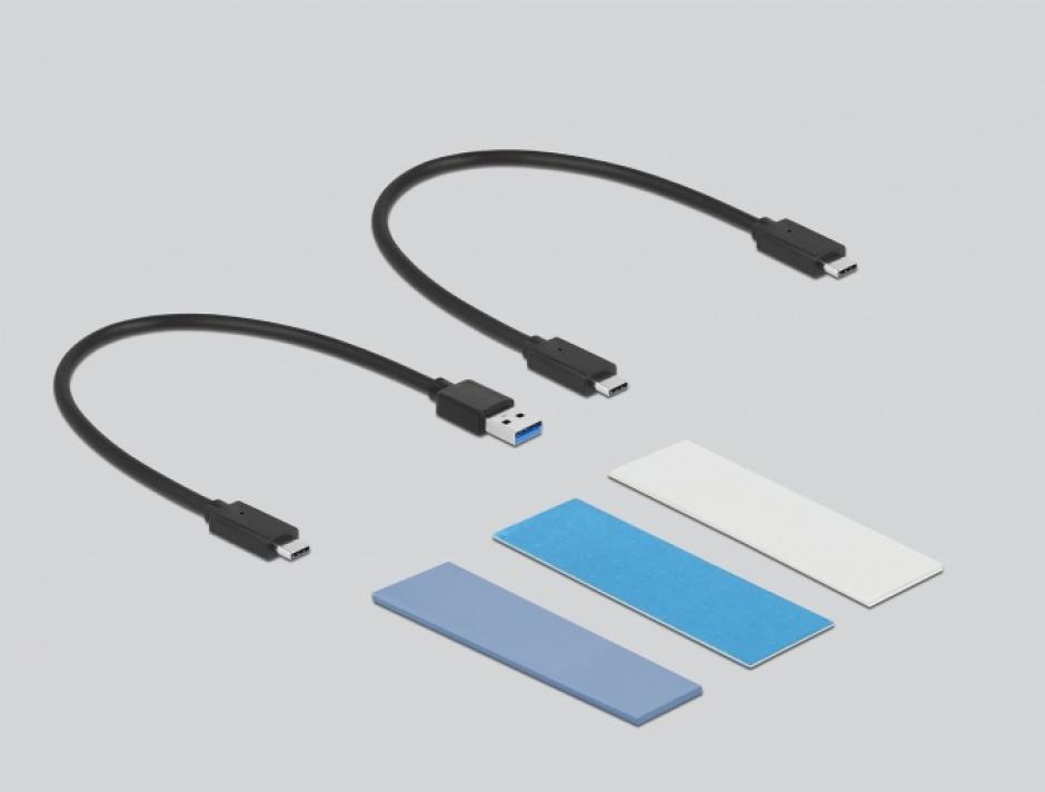 Imagine Rack extern combo USB type C pentru SSD M.2 PCIe/NVME sau SATA toolfree, Delock 42638