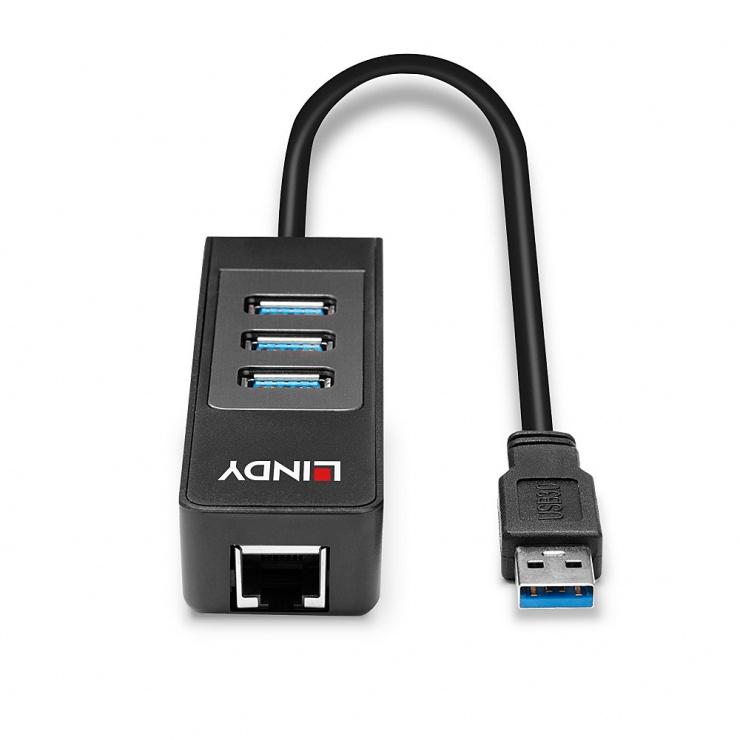 Imagine Adaptor USB 3.0-A la 3 x USB-A + Ethernet Gigabit LAN, Lindy L43176