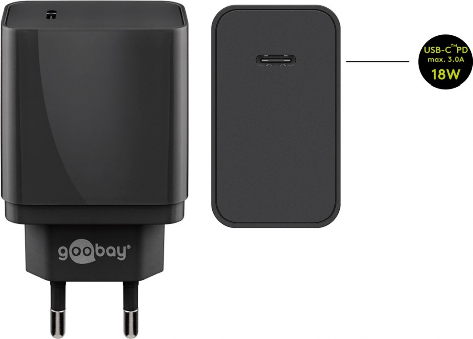 Imagine Incarcator priza 1 x USB-C PD (Power Delivery) Fast charger 2A/18W Negru, Goobay 44958