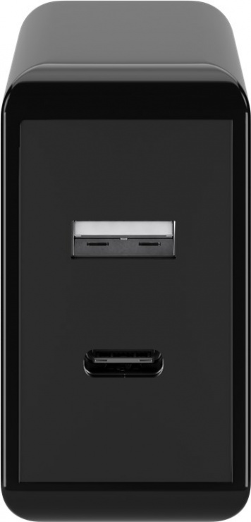 Imagine Incarcator priza 1 x USB-A + 1 x USB-C PD (Power Delivery) fast charger 3A/28W Negru, Goobay 44960