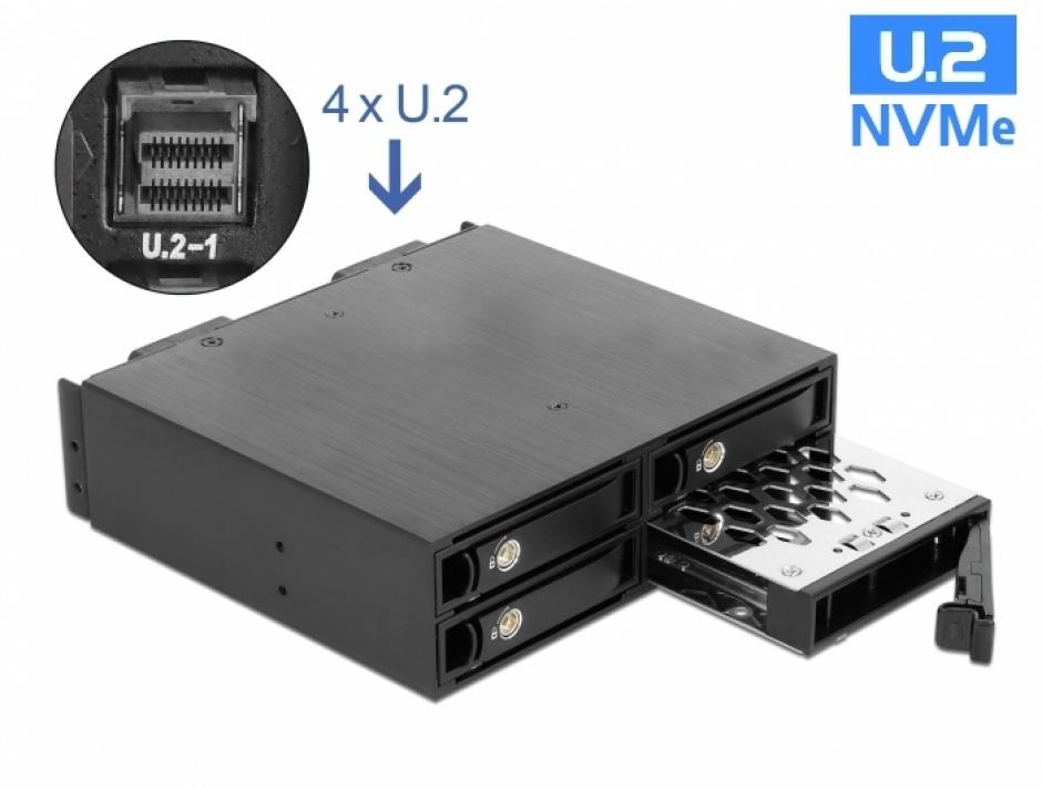 "Imagine Rack mobil 5.25"" pentru 4 x 2.5"" U.2 NVMe SSD, Delock 47235"