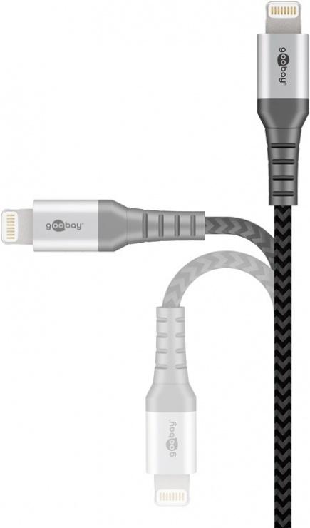 Imagine Cablu de date si incarcare USB la iPhone Lightning MFI T-T 1m, Goobay G49268