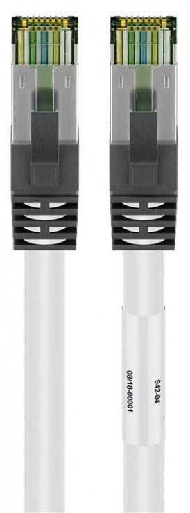 Imagine Cablu de retea RJ45 S/FTP CAT 8.1 cu mufe CAT 6A 10m Alb, Goobay G55129