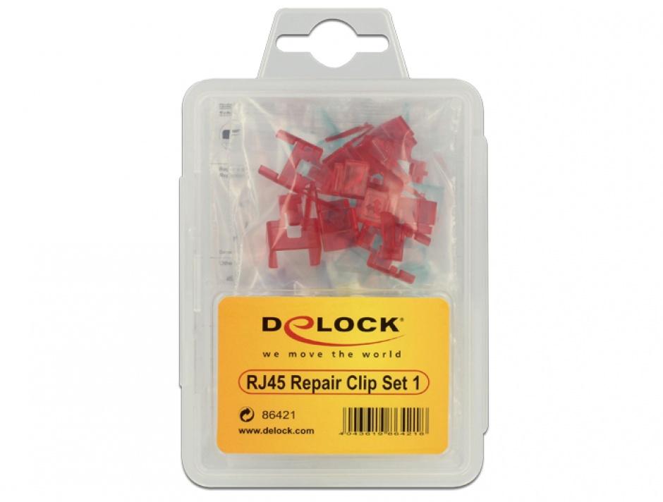 Imagine Set 40 buc clips pentru repararea cablului de retea, Delock 86421