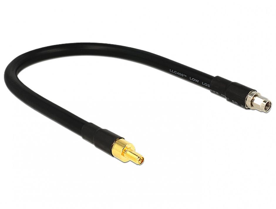 Imagine Cablu RP-SMA plug la RP-SMA jack CFD400 LLC400 0.4m low loss, Delock 13012