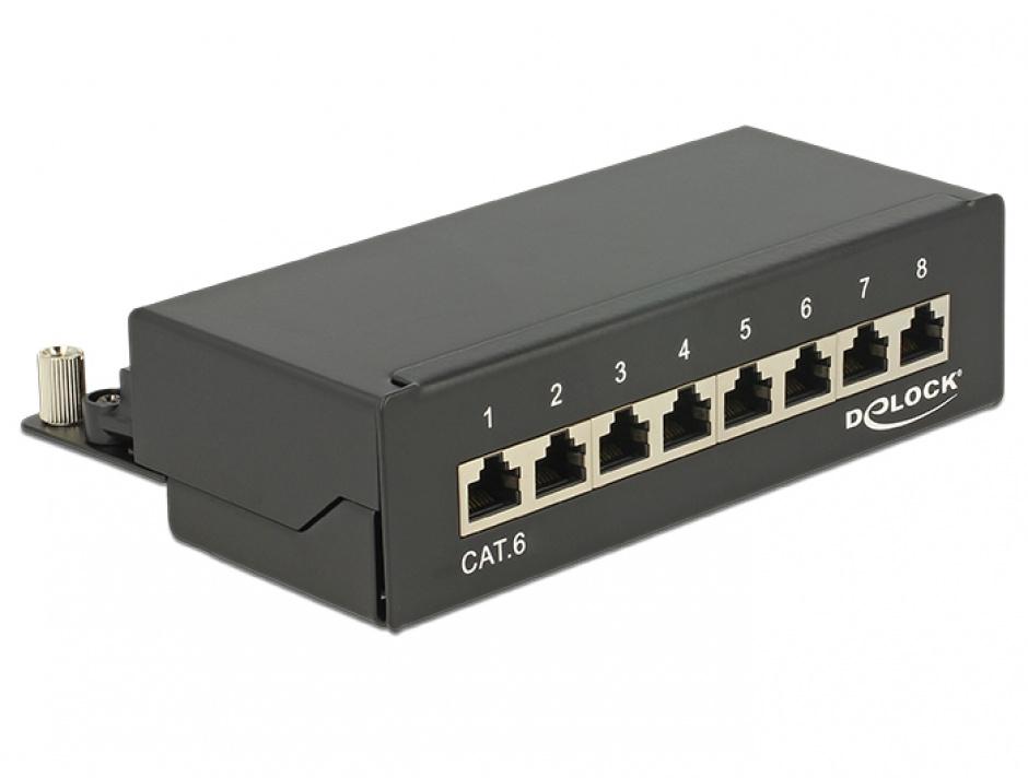 Imagine Patch panel 8 porturi Cat.6 FTP Negru, Delock 87672