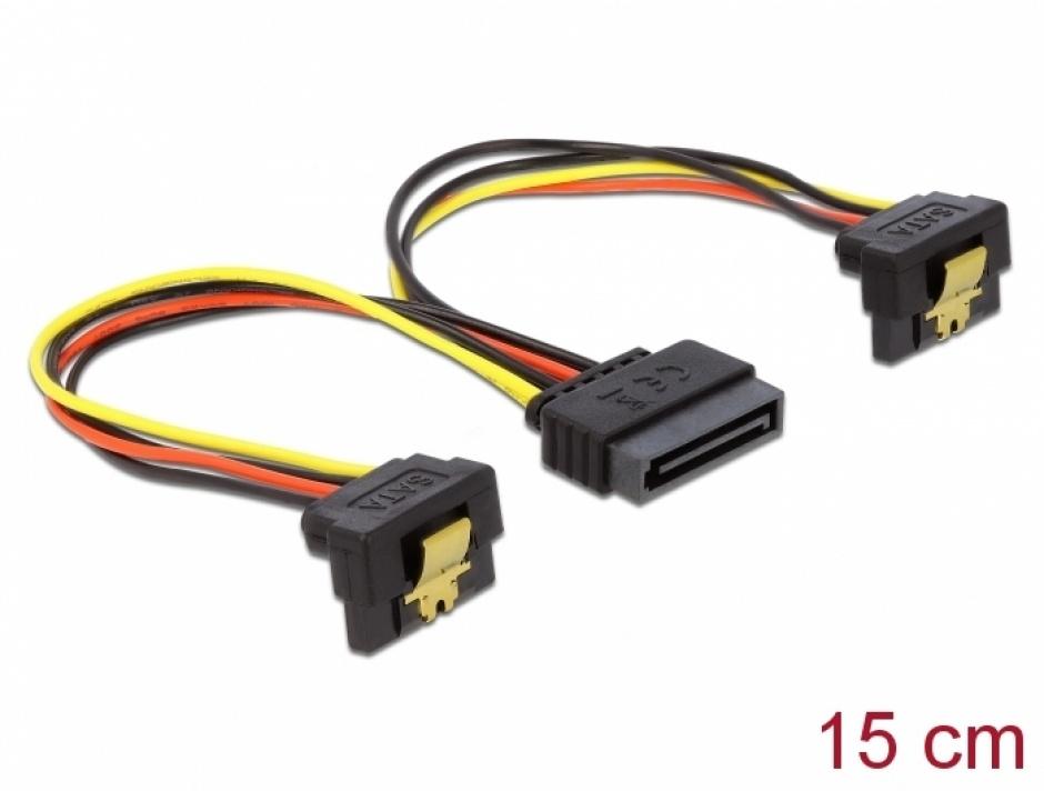 Imagine Cablu de alimentare SATA 15 pini la 2 x SATA in unghi, Delock 60128
