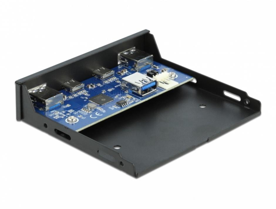 """Imagine Front Panel 3.5"""" USB 3.2 Gen 1 cu 2 x USB-C + 2 x USB-A, Delock 64049"""