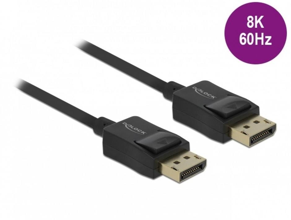 Imagine Cablu Displayport coaxial 8K60Hz T-T 6m Negru, Delock 85305