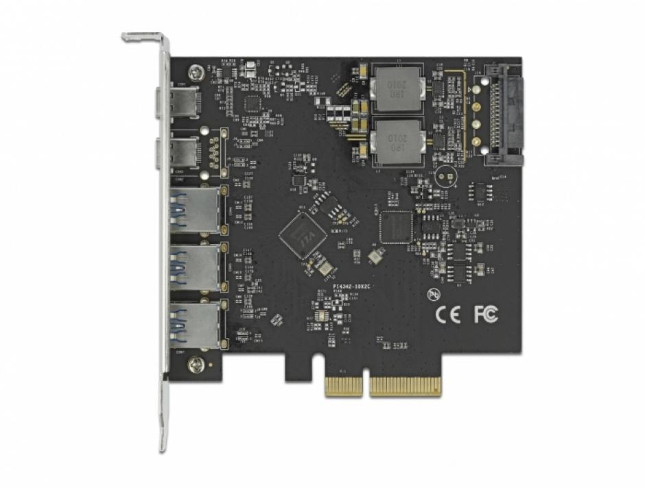 Imagine PCI Express x4 cu 2 x USB 3.2 Type-C + 3 x USB-A, Delock 89064