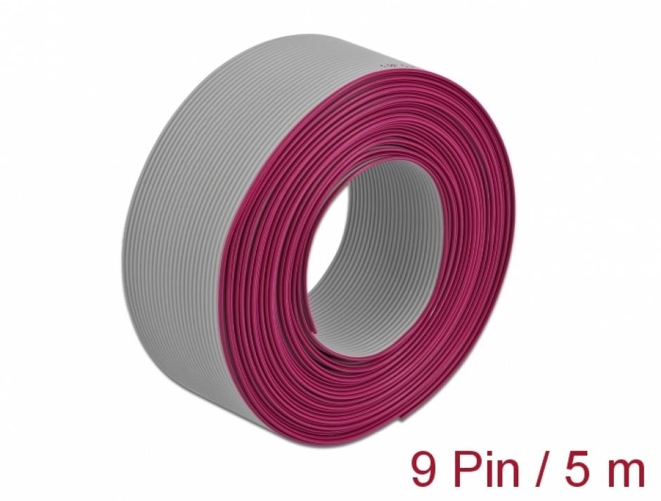 Imagine Cablu plat/flat pentru D-SUB 9 pini/pitch 1.27mm 5m, Delock 66606