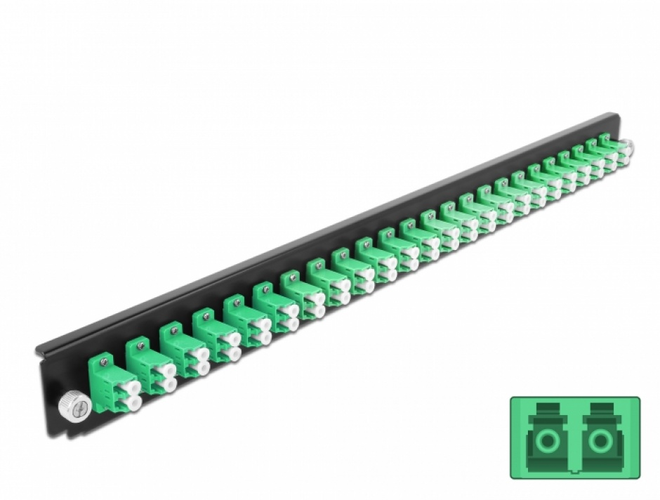 """Imagine Panou 19"""" pentru carcasa 24 porturi LC Duplex OS2 verde, Delock 43358"""