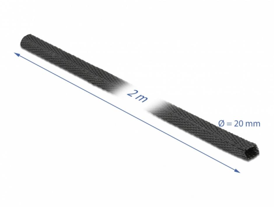 Imagine Tub termocontractabil 2 m x 20 mm raport 2:1 Negru, Delock 20794