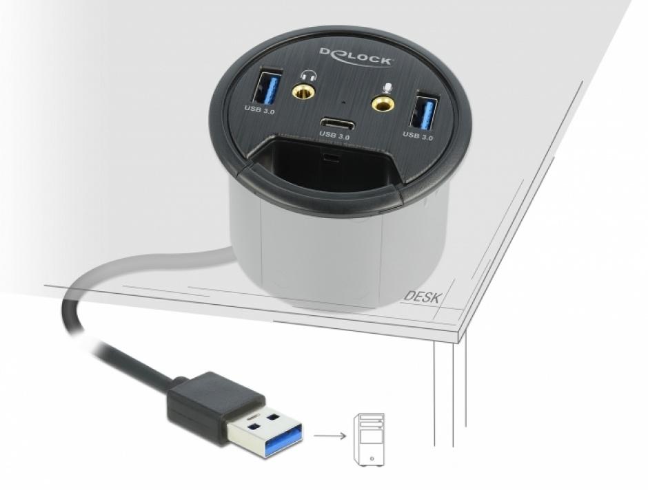 Imagine HUB in desk USB 3.2 Gen 1-A la 1 x USB-C + 2 x USB-A + 2 x jack stereo 3.5mm, Delock 62794