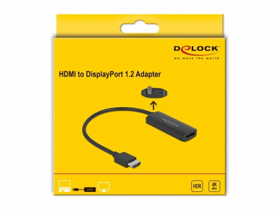 Imagine Adaptor HDMI la DisplayPort 4K60Hz T-M, Delock 63206