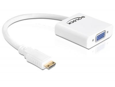 Imagine Adaptor mini HDMI C la VGA Alb T-M, Delock 65348