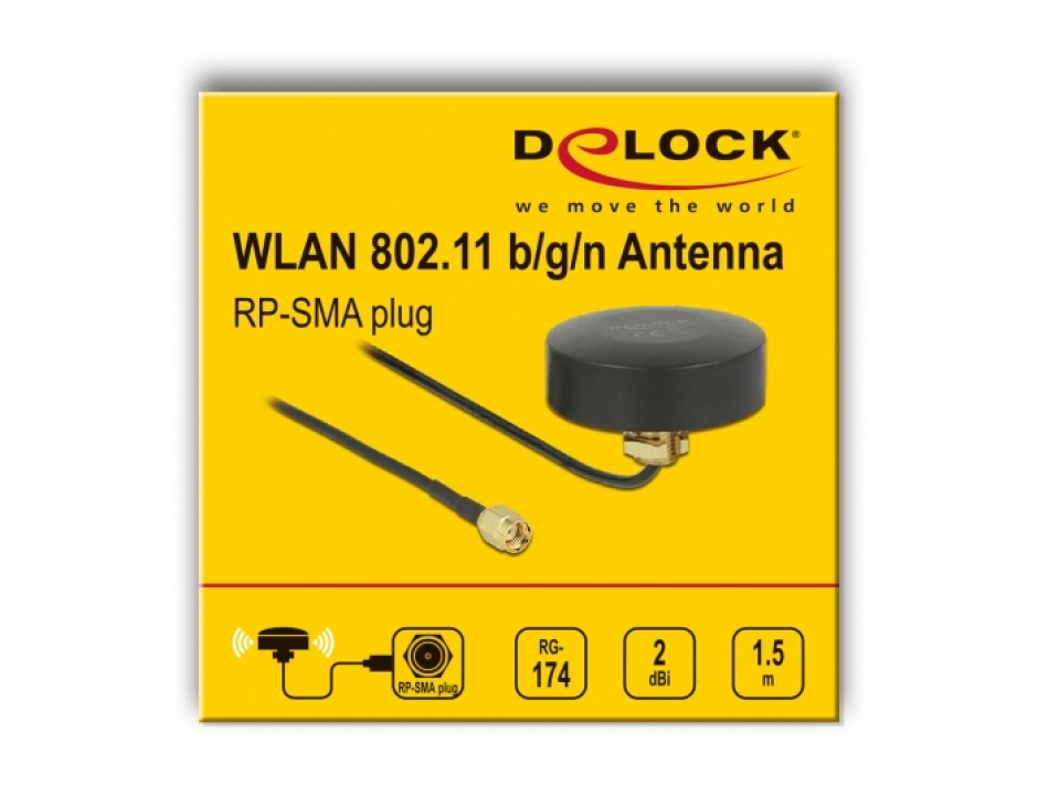 Imagine Antena exterior WLAN 802.11 b/g/n RP-SMA plug 2 dBi fixa omnidirectionala 1.5m, Delock 66285