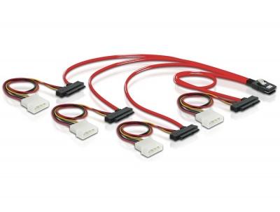 Imagine Cablu mini SAS 36 pini SFF 8087 la 4 x SAS 29 pini SFF8482 1m, Delock 83146-1