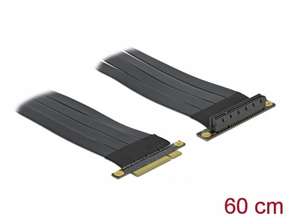 Imagine Riser Card PCI Express x8 la x8 + cablu flexibil 60cm, Delock 85767