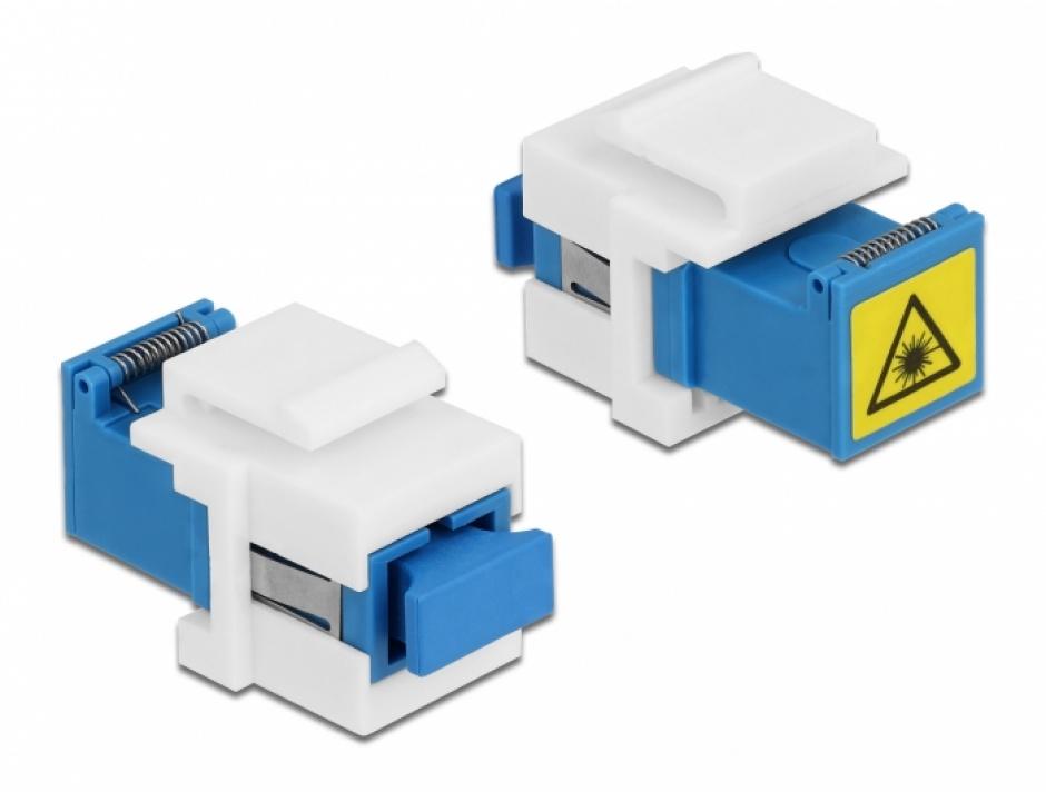 Imagine Modul keystone SC Simplex M-M cu protectie laser flip in interior, Delock 86832