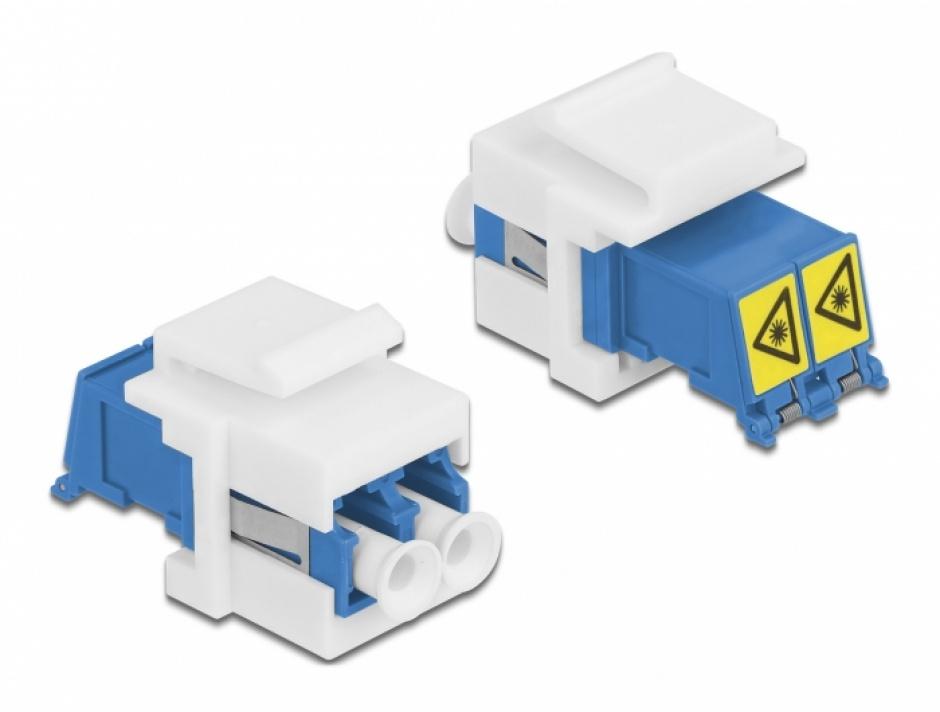 Imagine Modul keystone LC Duplex M-M cu protectie laser flip in interior, Delock 86834