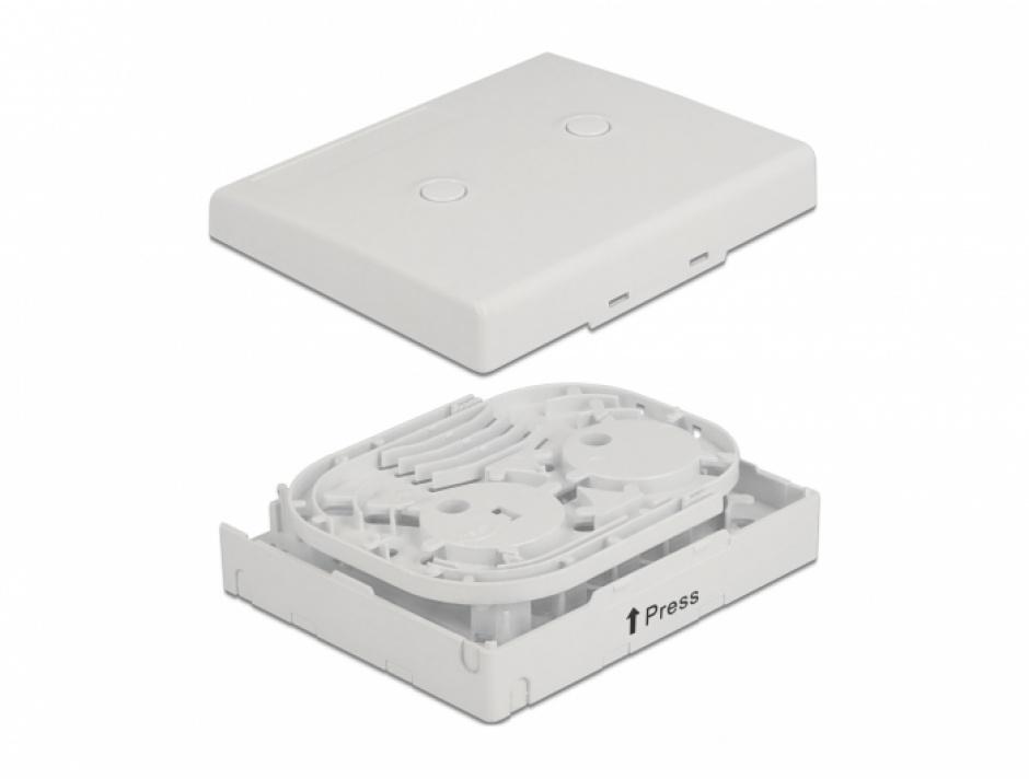 Imagine Cutie pentru 4 x cuple fibra optica SC Simplex / LC Duplex Alba, Delock 86843
