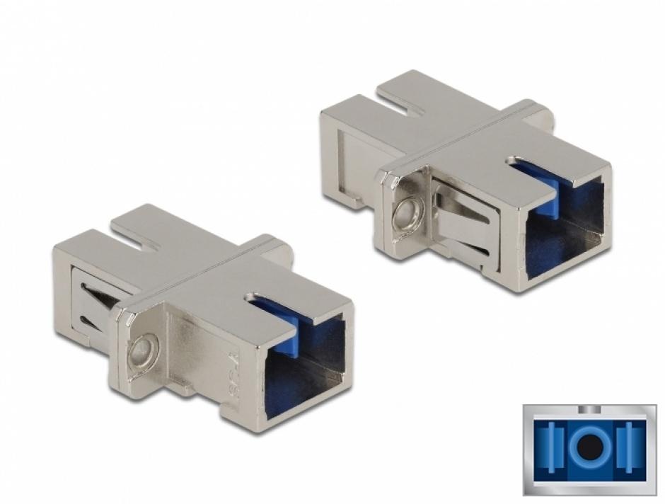 Imagine Cupla fibra optica SC Simplex - SC Simplex Single mode M-M metal, Delock 86872