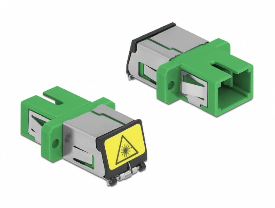 Imagine Cupla fibra optica cu protectie laser SC Simplex Single-mode M-M Verde, Delock 86887