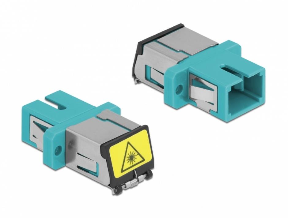 Imagine Cupla fibra optica cu protectie laser SC Simplex Multi-mode M-M Aqua, Delock 86890