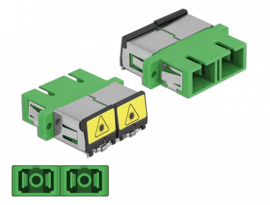 Imagine Cupla fibra optica cu protectie laser SC Duplex Single-mode M-M Verde, Delock 86892