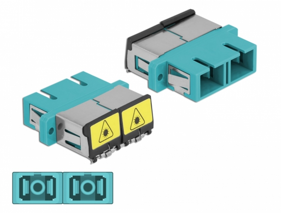 Imagine Cupla fibra optica cu protectie laser SC Duplex Multi-mode OM3 M-M Aqua, Delock 86895