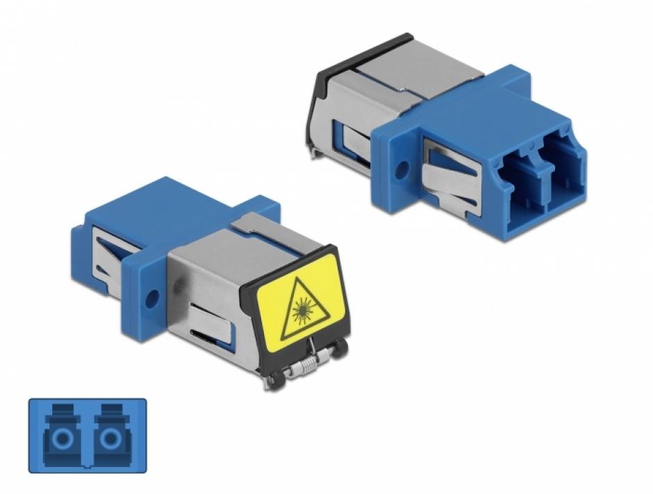Imagine Cupla fibra optica cu protectie laser LC Duplex Single-mode M-M Blue, Delock 86898