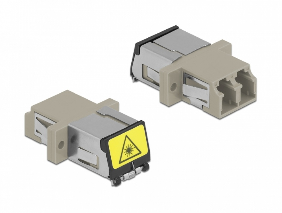 Imagine Cupla fibra optica cu protectie laser LC Duplex Multi-mode OM1/OM2 M-M Bej, Delock 86899