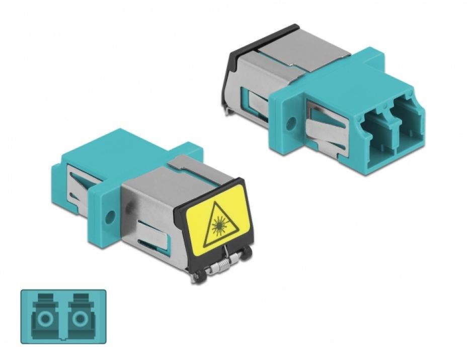 Imagine Cupla fibra optica cu protectie laser LC Duplex Multi-mode OM3 M-M Aqua, Delock 86900