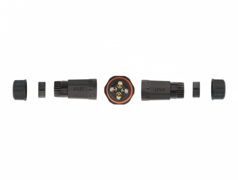 Imagine Cupla pentru 4 x cablu electric 4.5 - 7.5mm IP68 exterior, Delock 86914