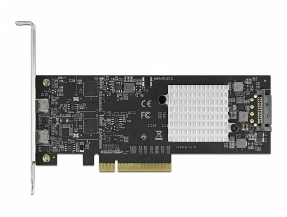 Imagine PCI Express cu 2 porturi externe SuperSpeed USB 20 Gbps (USB 3.2 Gen 2x2)-C LPFF, Delock 89009