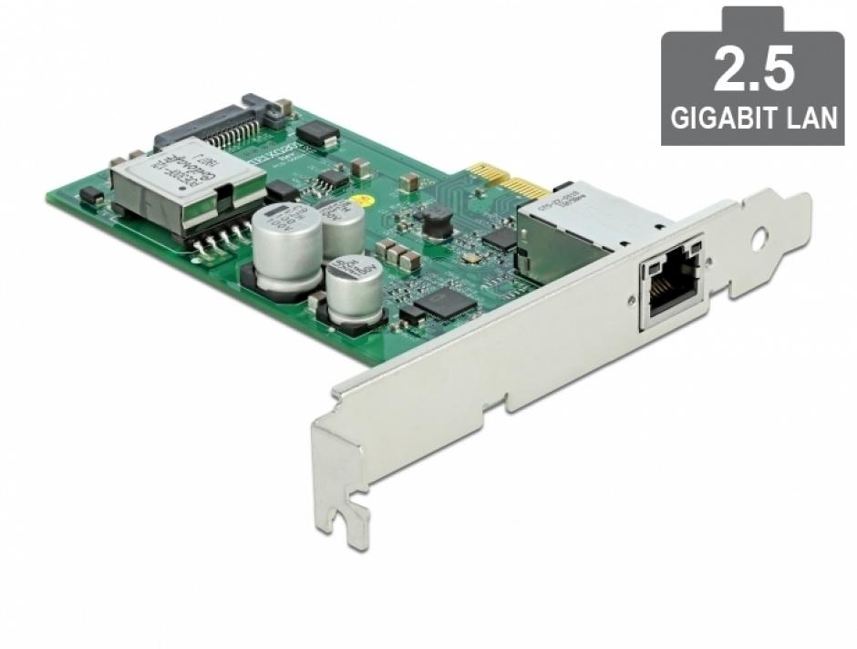 Imagine Placa PCI Express cu 1 x 2.5 Gigabit LAN PoE+ LPFF, Delock 89019