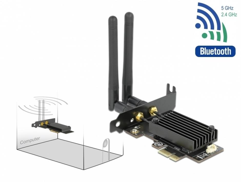 Imagine PCI Express Dual band Wi-Fi 6 WLAN ax/ac/a/b/g/n 2400 Mbps + Bluetooth 5.1, Delock 89049