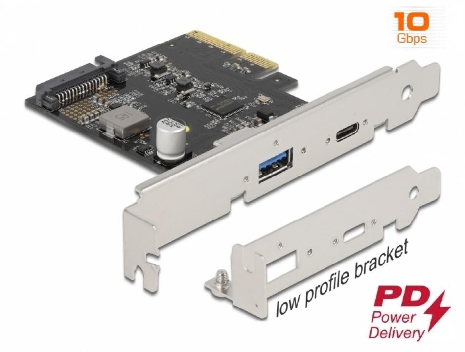 Imagine PCI Express x4 cu 1 x USB-C PD + 1 x USB 3.2-A Gen 2, Delock 90011