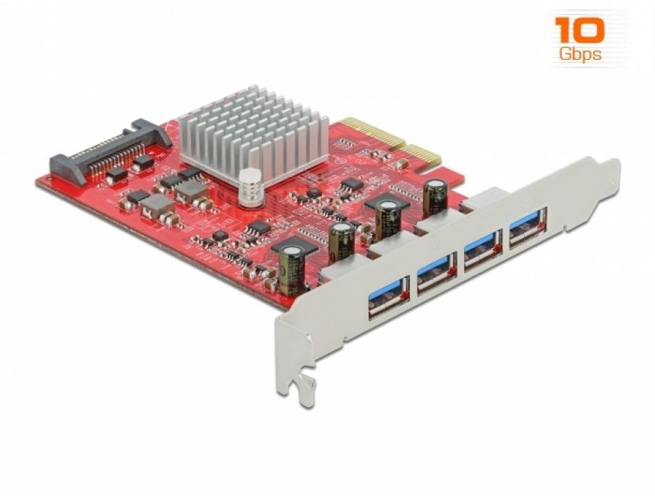 Imagine PCI Express cu 4 x SuperSpeed USB 10 Gbps (USB 3.2 Gen 2) USB-A externe, Delock 90481