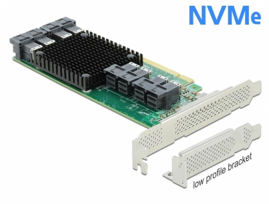 Imagine PCI Express cu 8 porturi interne SFF-8643 NVMe LPFF, Delock 90504