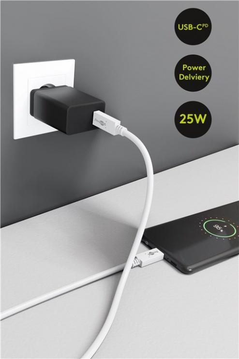 Imagine Incarcator priza USB-C PD (Power Delivery) 25W Negru, Goobay G57748