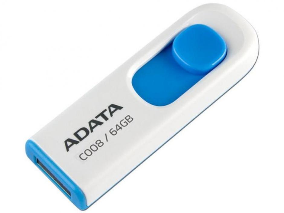 Imagine USB Stick ADATA C008 64GB USB 2.0 retractabil Alb/Blue, AC008-64G-RWE