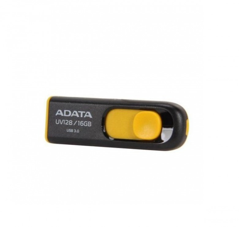 Imagine Stick USB 3.1 16GB UV128 retractabil Negru/Galben, ADATA AUV128-16G-RBY
