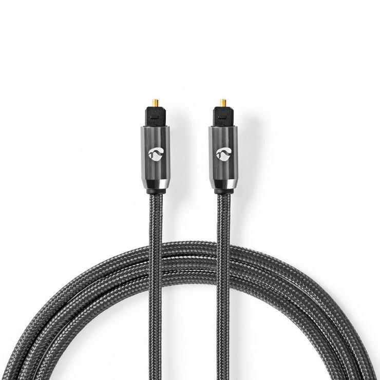 Imagine Cablu audio optic Toslink SPDIF 2m brodat, Nedis CATB25000GY20